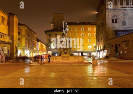 BOLOGNA, ITALY - November 4: Fountain of Neptune on Piazza del Nettuno looking towards Piazza Maggiore.The work - Stock Photo
