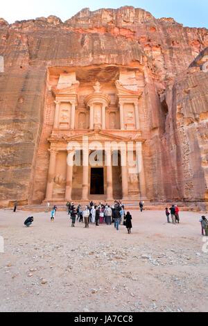 PETRA, JORDAN - FEBRUARY 21: Treasury Monument in antique city on February 21, 2012 in Petra, Jordan. Petra has - Stock Photo