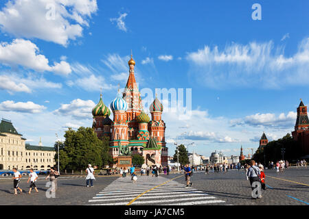 MOSCOW, RUSSIA - JULY 17: view of Pokrovsky cathedral on Red square in Moscow, Russia on July 2013. The cathedral - Stock Photo