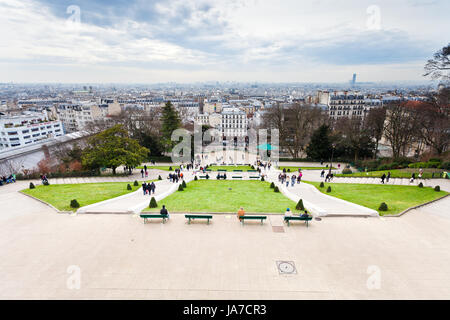 PARIS, FRANCE - MARCH 5: view on Paris from Montmartre Hill in early spring. Montmartre is 130 metres high and gives - Stock Photo