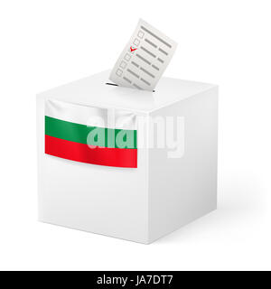 Election in Bulgaria: ballot box with voicing paper isolated on white background. - Stock Photo