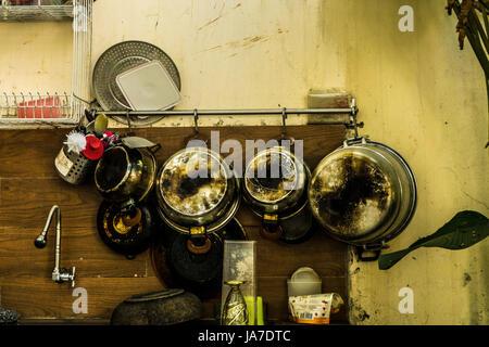 old vintage utensils handging on the wall photo taken in depok bogor indonesia - Stock Photo
