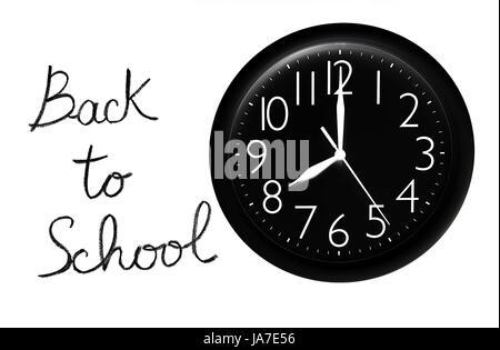isolated, black, swarthy, jetblack, deep black, clock, class, text, white, - Stock Photo