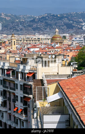 blue, house, building, temple, city, town, hill, horizon, cathedral, dome, - Stock Photo
