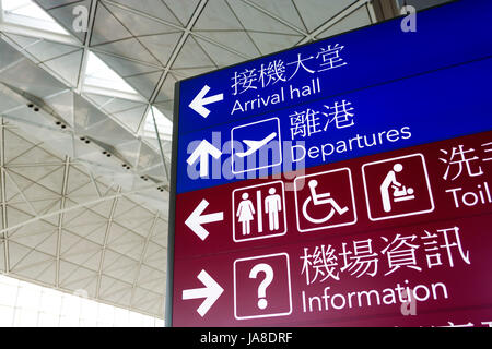 Sign lightbox in Hong Kong International Airport - Stock Photo