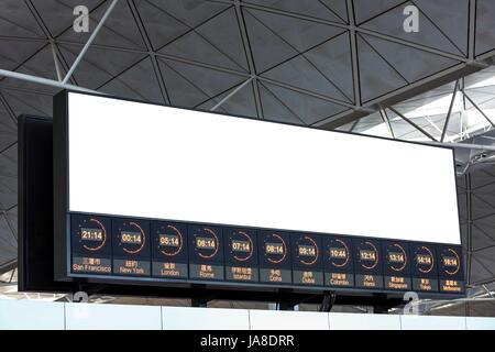World Time and LCD TV at Hong Kong airport - Stock Photo