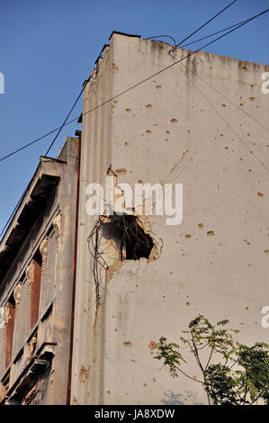 house, building, danger, travel, city, town, conflict, battle, window, - Stock Photo