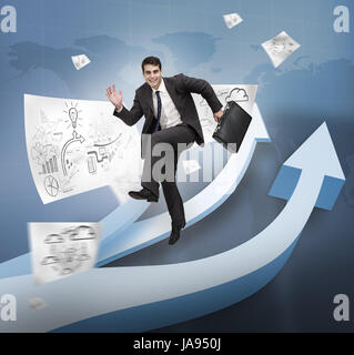 Businessman jumping over arrows and drawings - Stock Photo