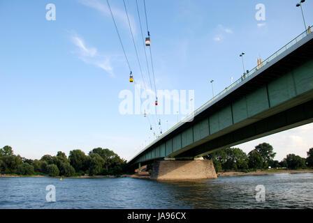 travel, tree, cologne, bridge, rhine, summer, summerly, europe, transport, - Stock Photo