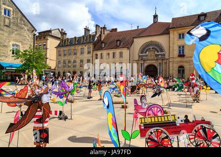 France, Franche Comte, Pontarlier, 15th Kite Festival, Arçon square - Stock Photo