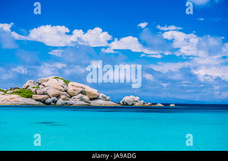 Bizarre granite rocks formation in amazing azure water on beautiful Sardinia island near Porto Pollo, Sargedna, - Stock Photo