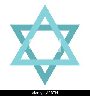 Star of David icon, flat style - Stock Photo
