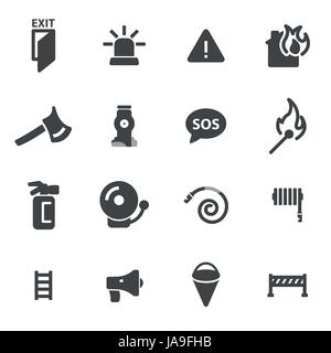 Vector black firefighter icons set - Stock Photo