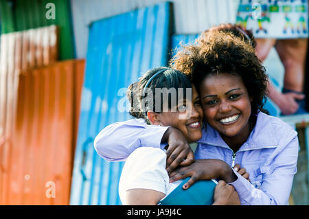 Young women in Arat Kilo, Addis Ababa, Ethiopia - Stock Photo