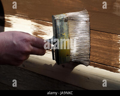 Man brushing wood protective paint on to garden shed - Stock Photo