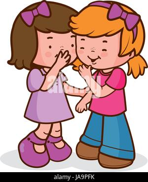 Two little girls share secrets, whispering, talking and laughing. Vector illustration - Stock Photo