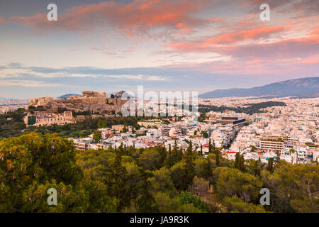Acropolis and view of the city of Athens, Greece. - Stock Photo