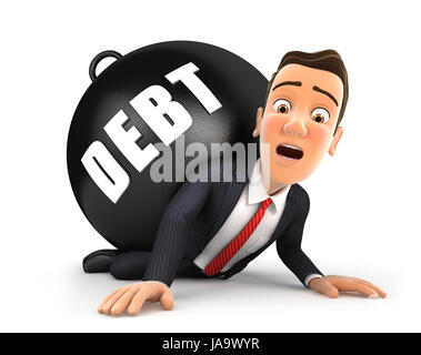 3d businessman crushing debt, illustration with isolated white background - Stock Photo