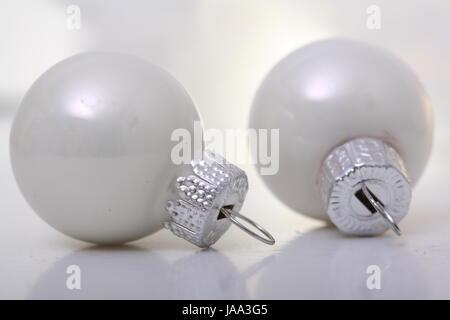 two white christmas balls - Stock Photo