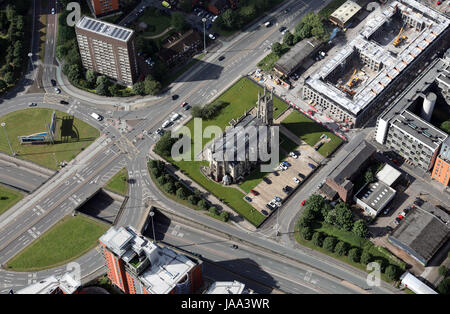 aerial view of the former St George Church, Arundel Street, Manchester, UK - Stock Photo