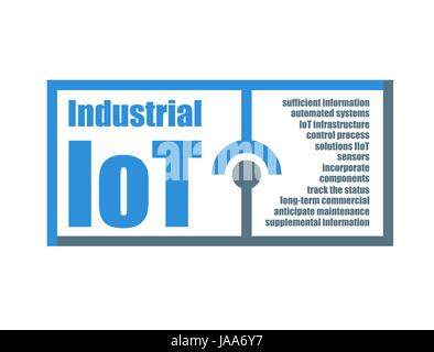Industrial IoT characteristics words related vector illustration. Internet of things modern technology concept - Stock Photo