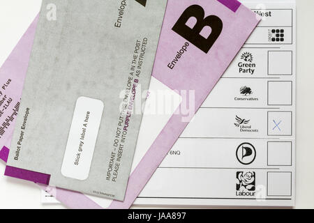 Postal Ballot Paper for General Election in the UK on Thursday 8th June 2017 - X voting for Liberal Democrats - Stock Photo