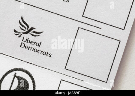 Liberal Democrats box on Postal Ballot Paper for General Election in the UK on Thursday 8th June 2017 - Stock Photo