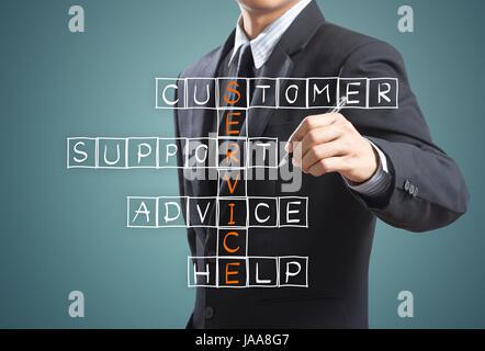 Business man writing customer service concept - Stock Photo