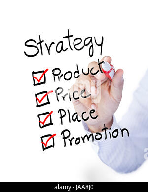 Business man drawing marketing 4P principle diagram - Stock Photo