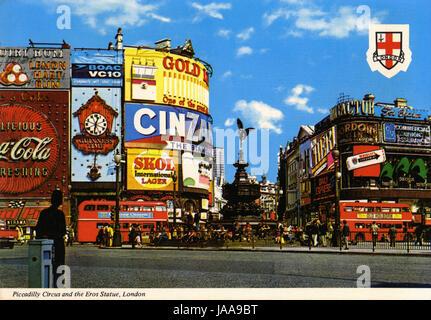 Postcard of Picaddilly Circus, London - Stock Photo