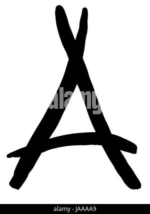 letter A hand written in black ink on white background - Stock Photo