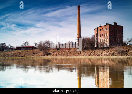 Poznan Garbary - a view above the river Warta to an old industrial city district, blue sky above buildings from - Stock Photo