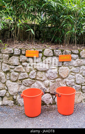 Plastic tubs for recycling; Environmental issues; Green issues; Signs; - Stock Photo