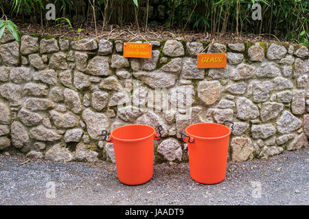 Plastic tubs for recycling. - Stock Photo