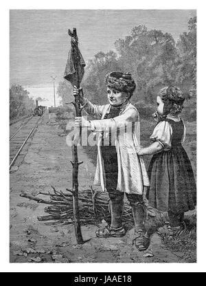Voluntary rail caretakers, kids playing near the train rails, engraving from XIX century - Stock Photo