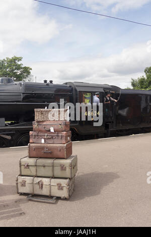 Stanier class 8F steam engine in British Railways black with it BR number 48624, at Quorn and Woodhouse railway - Stock Photo