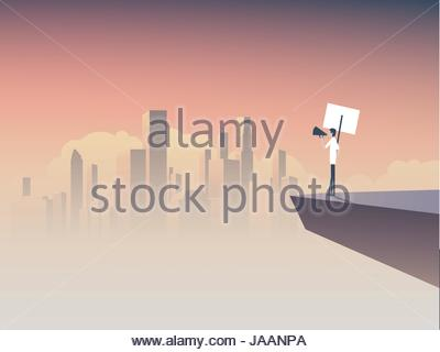 Protester speaking through megaphone or bullhorn and holding a placard, banner vector icon. Corporate background. - Stock Photo