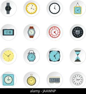 Clock icons set, flat style - Stock Photo