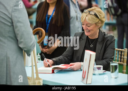 Jo Malone perfumer book signing for fans in the bookshop at Hay Festival 2017 Hay-on-Wye Powys Wales UK - Stock Photo