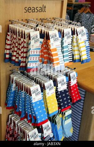 Padstow, Cornwall, UK - April 6th 2017: Store display of women's Seasalt Sailor Socks - Stock Photo