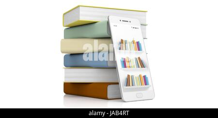 E-learning concept. Books stack and a smartphone on white background. 3d illustration - Stock Photo