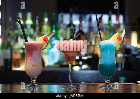Close up on mouth watering cocktails in a classy bar - Stock Photo