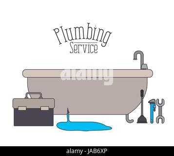 color poster of bath dripping flooded plumbing service   Stock Photo. scene of bath dripping flooded plumbing service Stock Vector Art