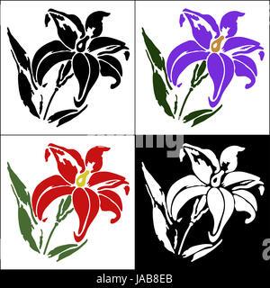 A set of four flower design elements - Stock Photo