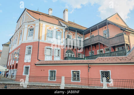 SIBIU, ROMANIA - AUGUST 10, 2016: The House Luxembourg (Casa Luxemburg) - Stock Photo
