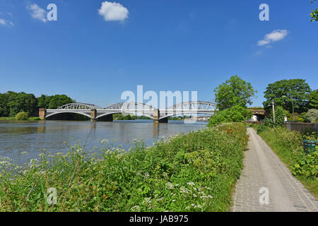 Thames Path at the Barnes Railway Bridge in London United Kingdom Stock Photo