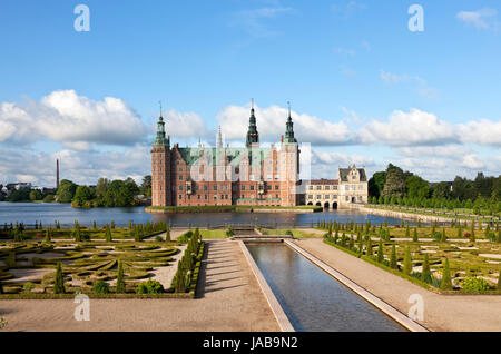 The Frederiksborg Castle in Dutch Renaissance style and the baroque garden in Hillerød near Copenhagen, Denmark, - Stock Photo