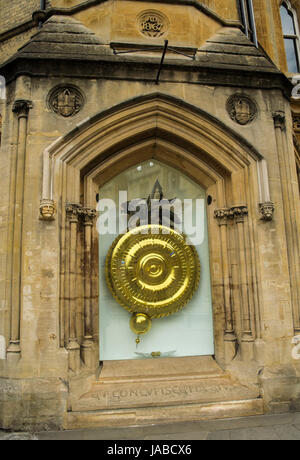 The Corpus Clock. A large sculptural clock at street level on the outside of the Taylor Library at Corpus Christi - Stock Photo
