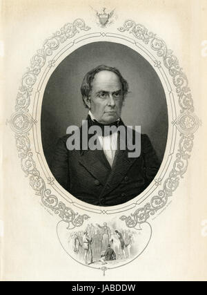 Antique c1860 engraving, Daniel Webster. Daniel Webster (1782-1852) was an American politician who served in the - Stock Photo
