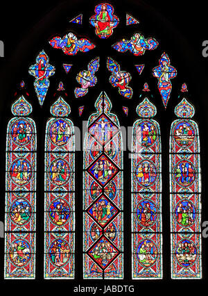 The Passion Window, passion scenes, stained glass window, by Adolph Didron of Paris, 1860, Feltwell Church, Norfolk, - Stock Photo